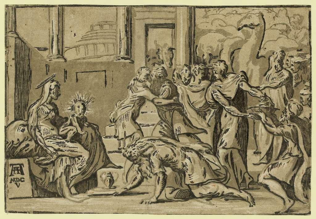The adoration of the Magi / AA [monogram of Andrea Andreani] MDCV.