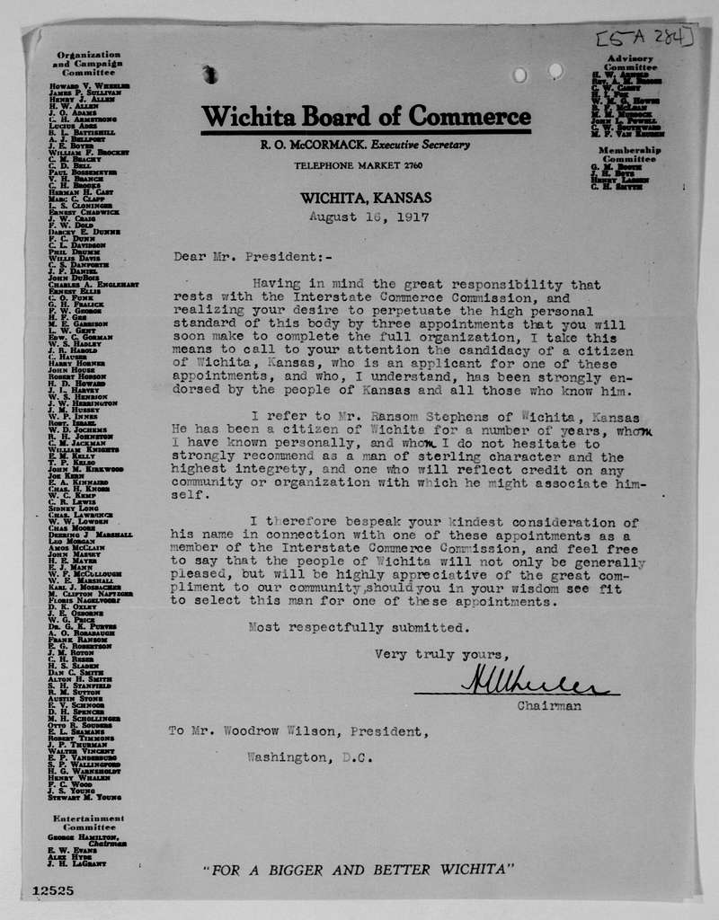 Woodrow Wilson Papers: Series 4: Executive Office File, 1912-1921; 5A, (244-336)