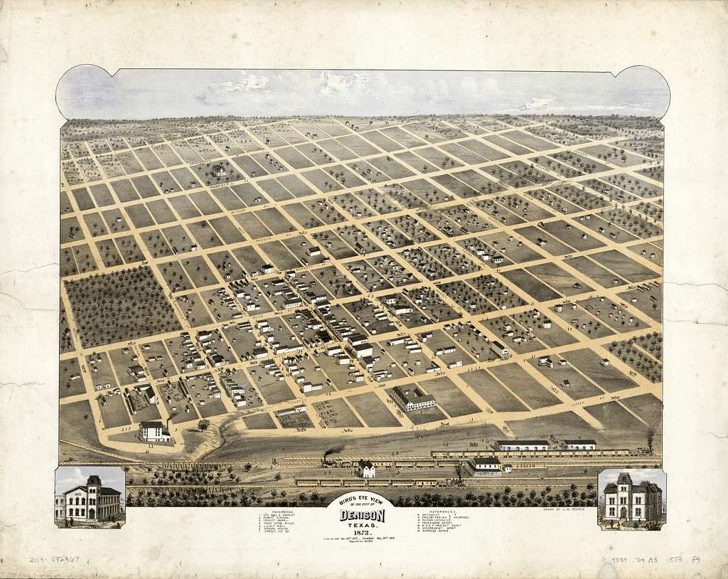 Bird's eye view of the city of Denison, Texas, 1873 /