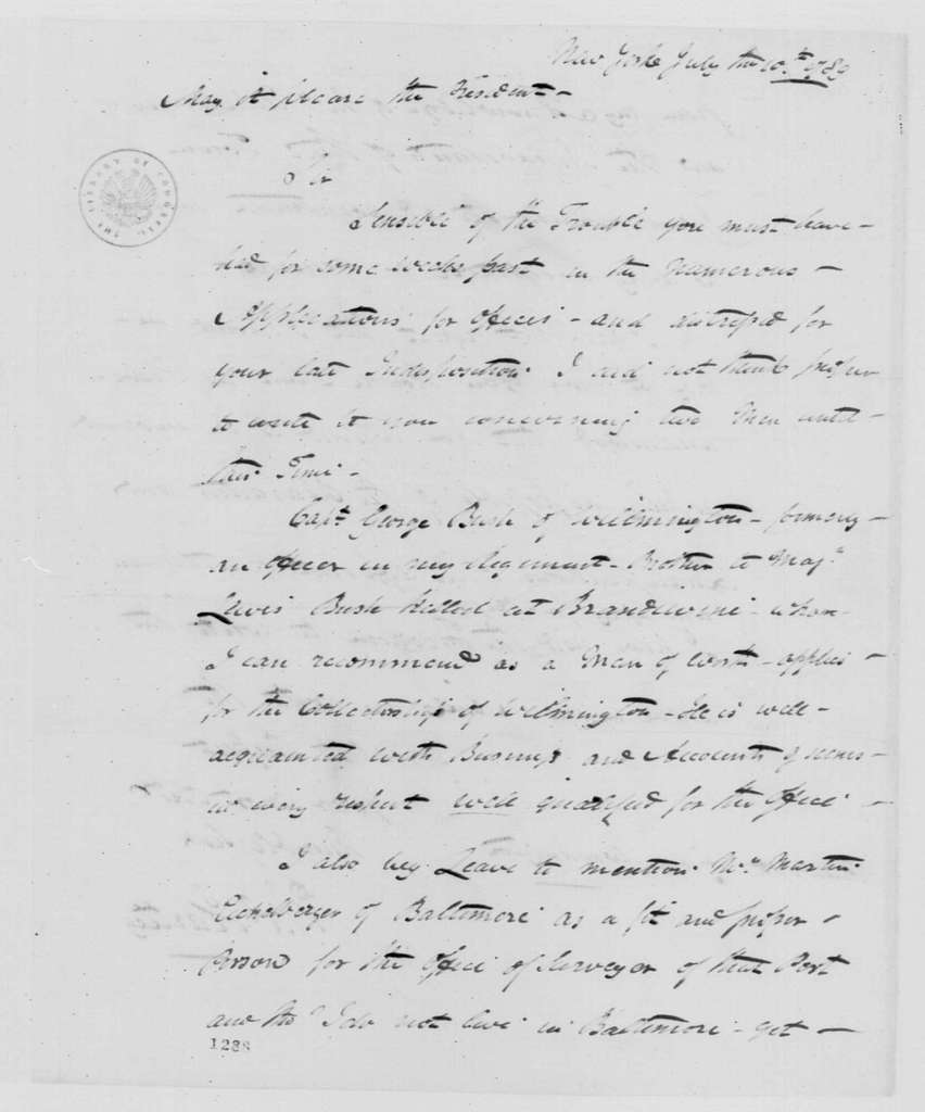 George Washington Papers, Series 7, Applications for Office, 1789-1796: Martin Eichelberger