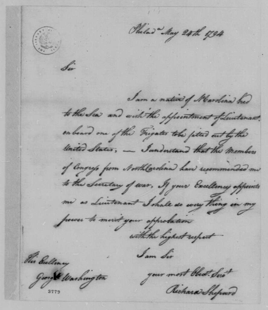 George Washington Papers, Series 7, Applications for Office, 1789-1796: Richard Shepard
