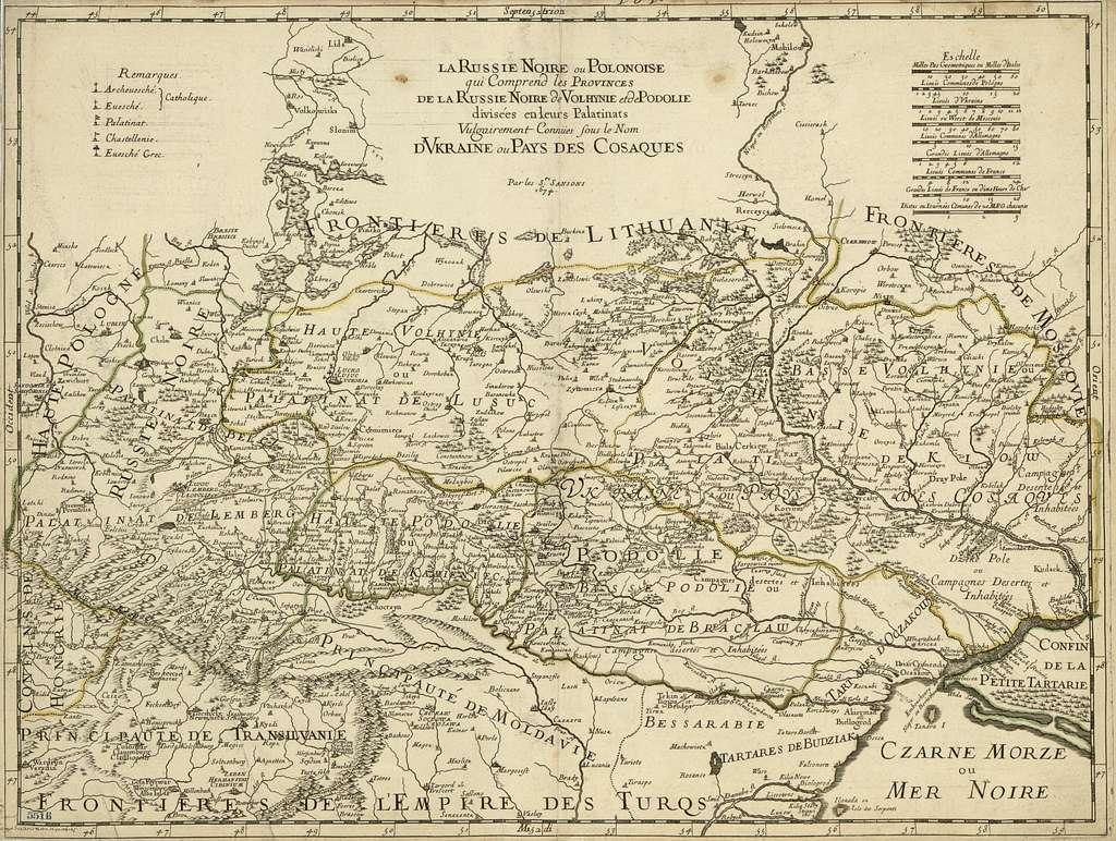 La Russie Noire ou Polonaise : qui comprend les provinces de la Russie Noire de Volhynie et de Podolie divisées en leurs palatinats : vulgairement connües sous le nom d'Vkraine ou Pays de Cosaques /