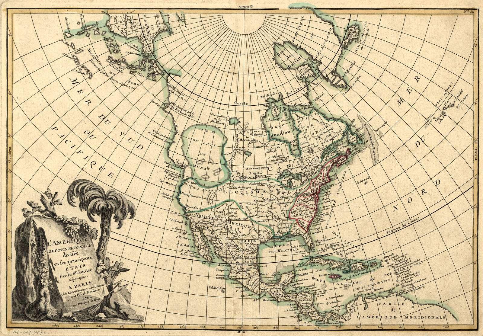 L'Amérique septentrionale divisée en ses principaux états