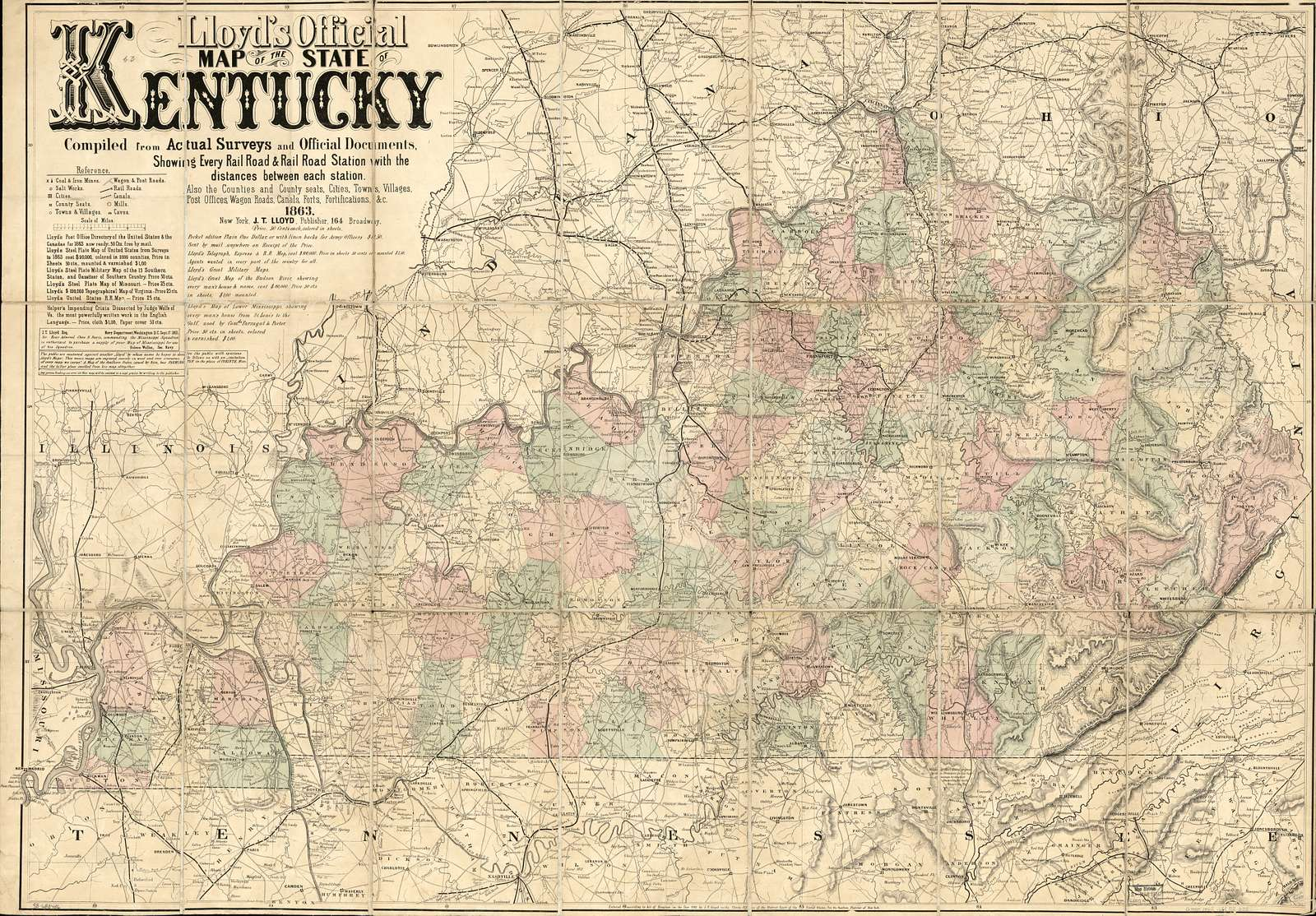 Lloyd's official map of the state of Kentucky compiled from actual surveys and official documents, showing every rail road & rail road station with the distances between each station. Also the counties and county seats, cities, towns, villages, post offices, wagon roads, canals, forts fortifications &c.