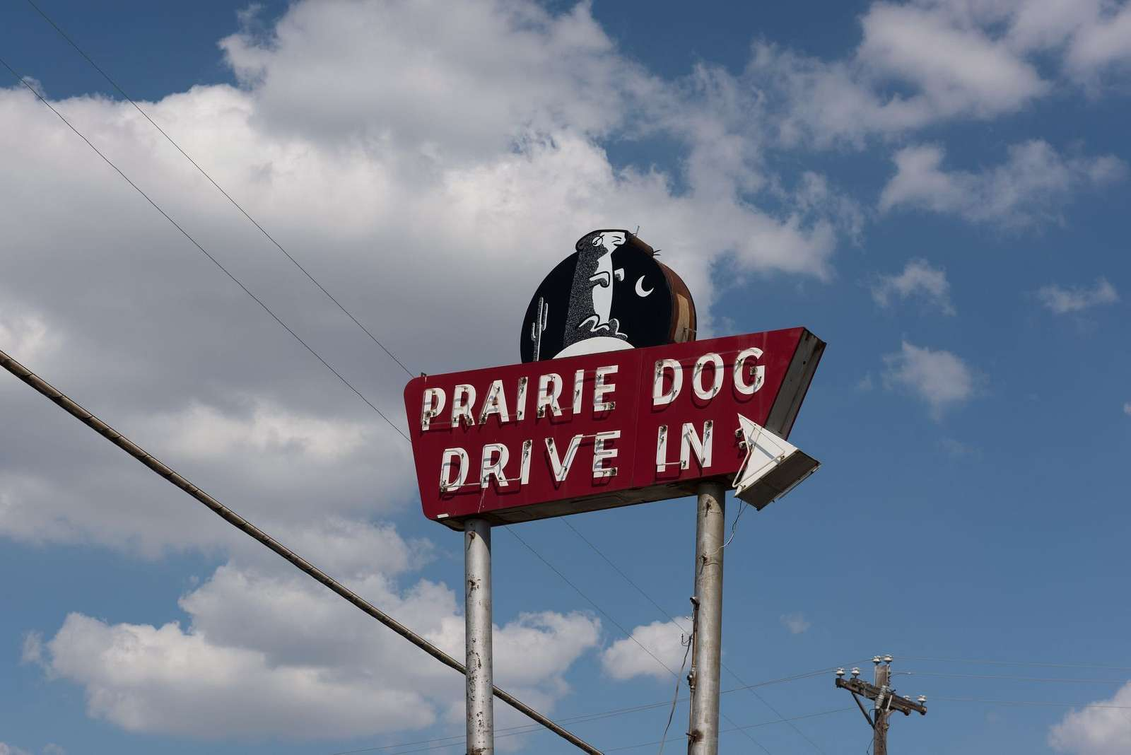 Neon sign for the Prairie Dog drive-in restaurant in Grand Prairie, Texas, along Texas Route 180, once the main road between Fort Worth and Dallas