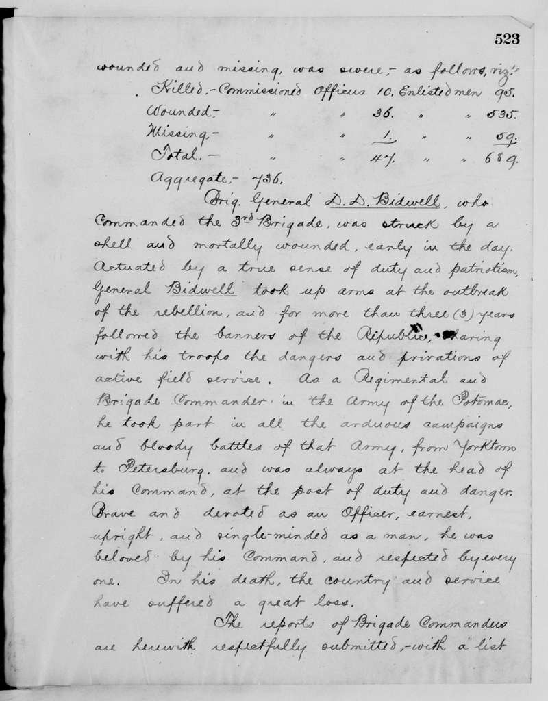 Philip Henry Sheridan Papers: Military Papers, 1853-1887; Operations reports; Letterpress copies; Vol. 2, Shenandoah Valley campaign, 1864-1865; Pages 1-533