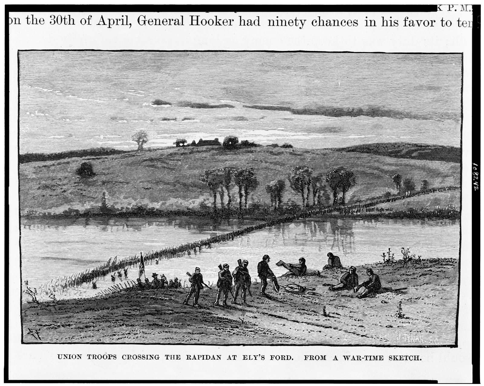 Union troops crossing the Rapidan at Ely's Ford / from a war-time sketch.