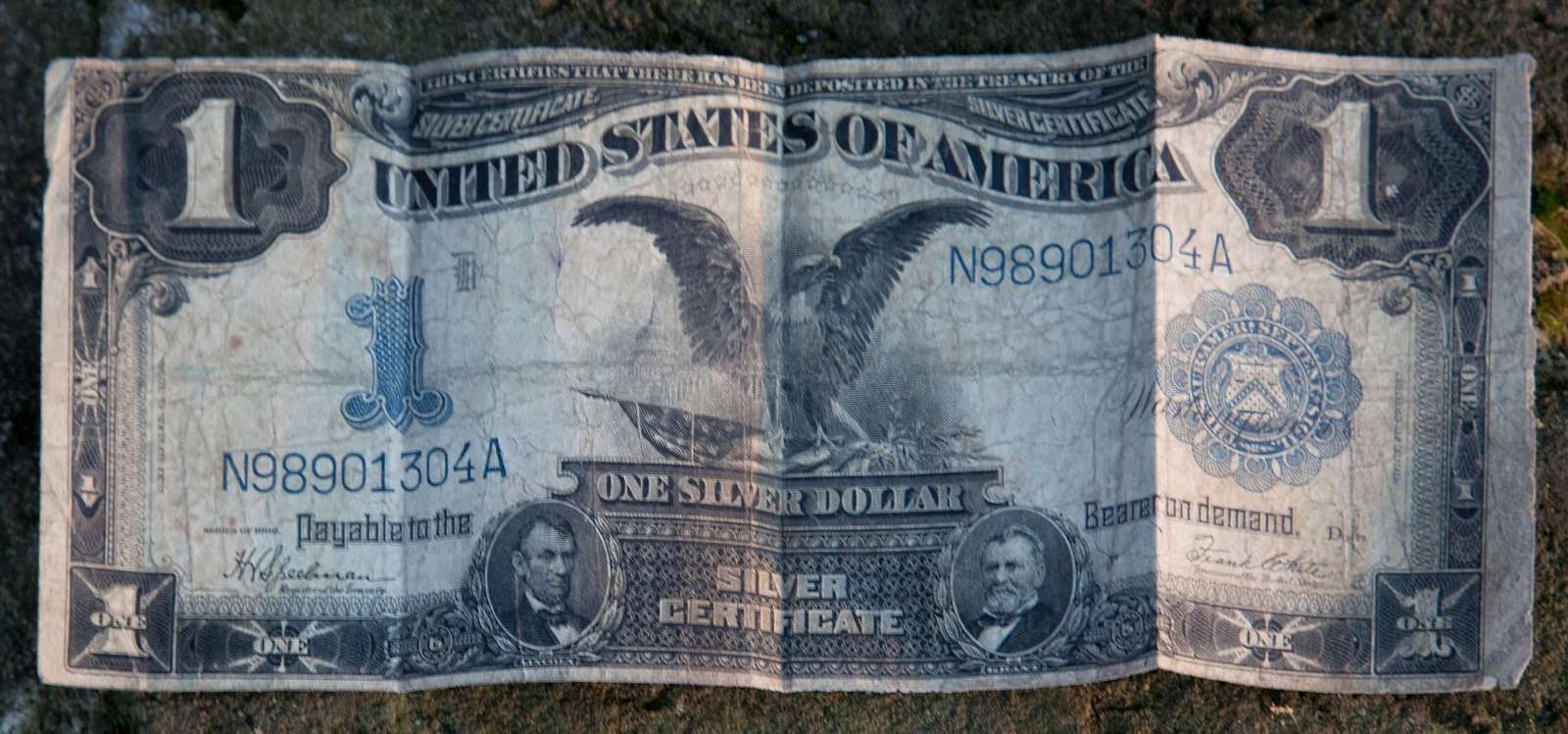 A 1902 silver certificate offered by Frances Benjamin Johnston, renowned American photographer, found under a name plate on Johnston's camera tripod in Cordova, Alabama