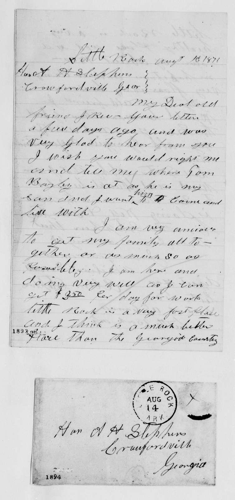Alexander Hamilton Stephens Papers: Letters from Servants, 1867-1883; Bound vol., 1867-1883, undated