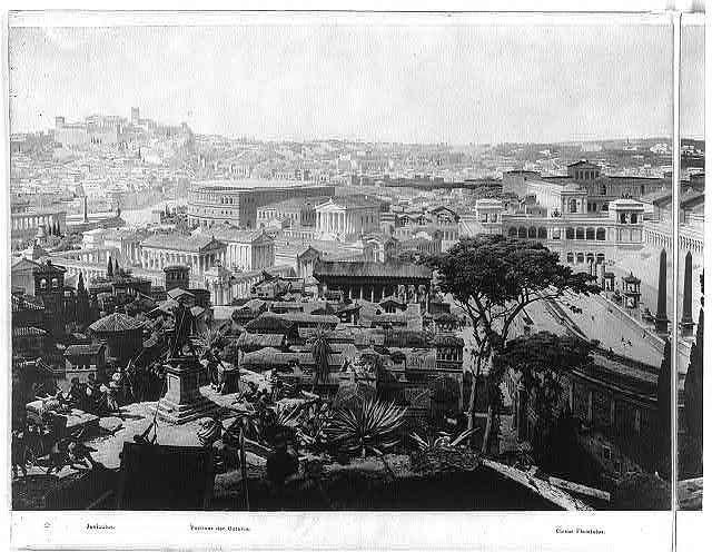 Das alte Rom mit dem Triumphzuge Kaiser Constantin's im Jahre 312 n. Chr. / / Rundgemälde von den k. Professoren J. Bühlmann und Alexander Wagner in München.