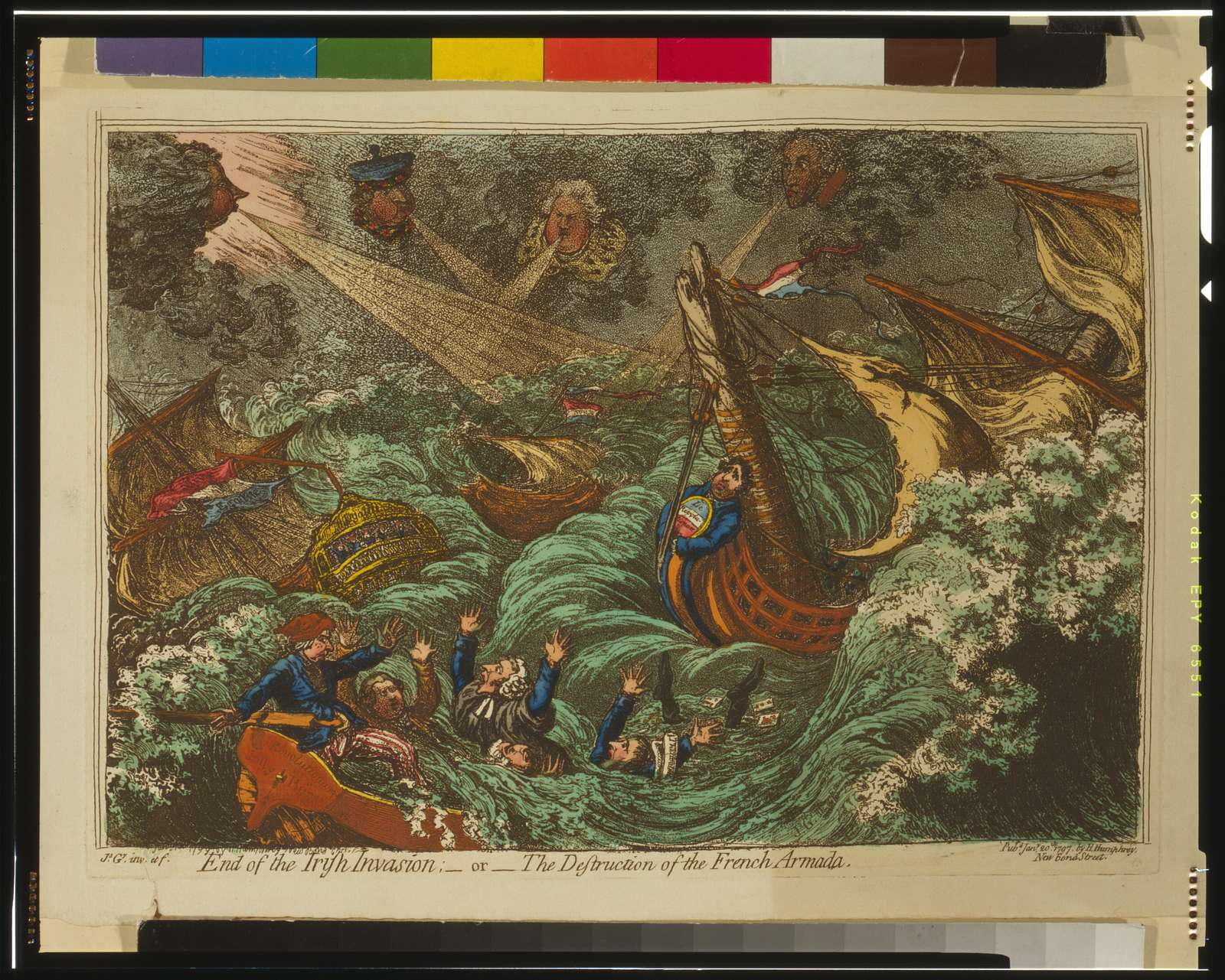 End of the Irish Invasion : - or - the Destruction of the French Armada / Js. Gillray, inv. et f.