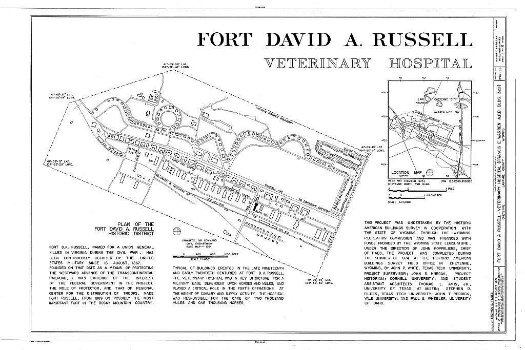 Fort David A. Russell, Veterinary Hospital, Third Street & Second Avenue, Cheyenne, Laramie County, WY