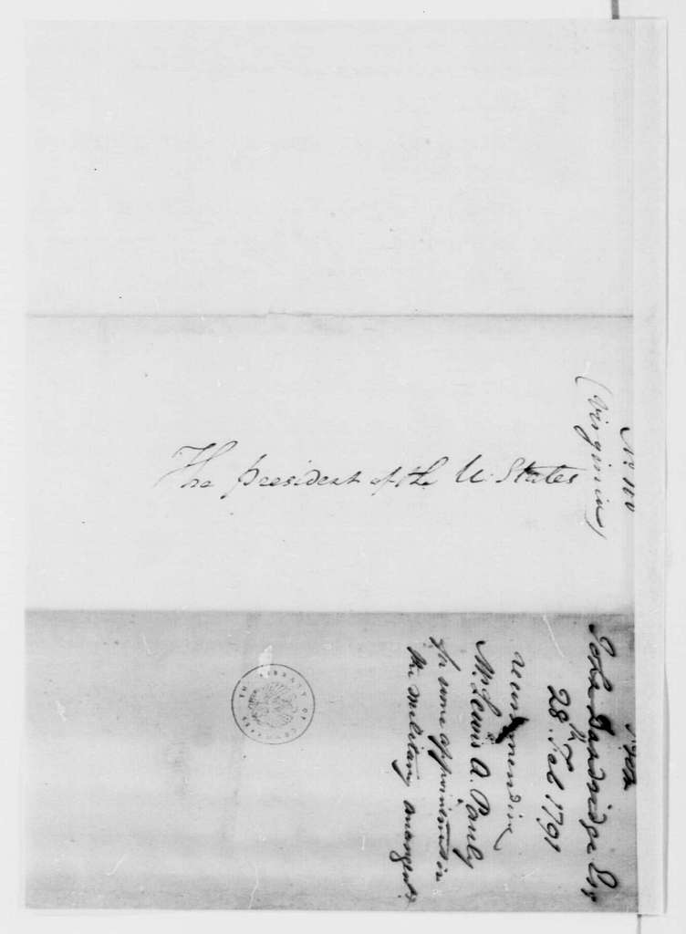 George Washington Papers, Series 7, Applications for Office, 1789-1796: Lewis A. Pauly