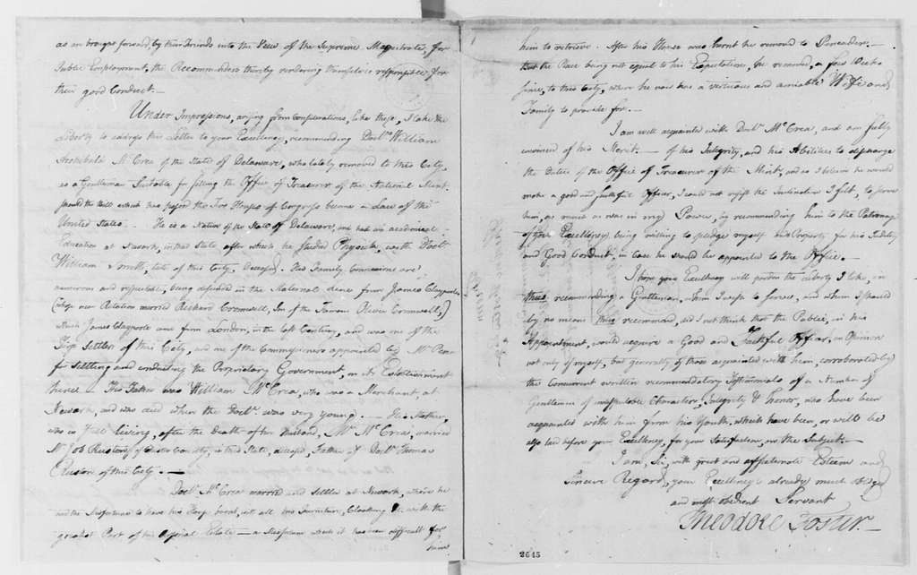 George Washington Papers, Series 7, Applications for Office, 1789-1796: William A. McCrea