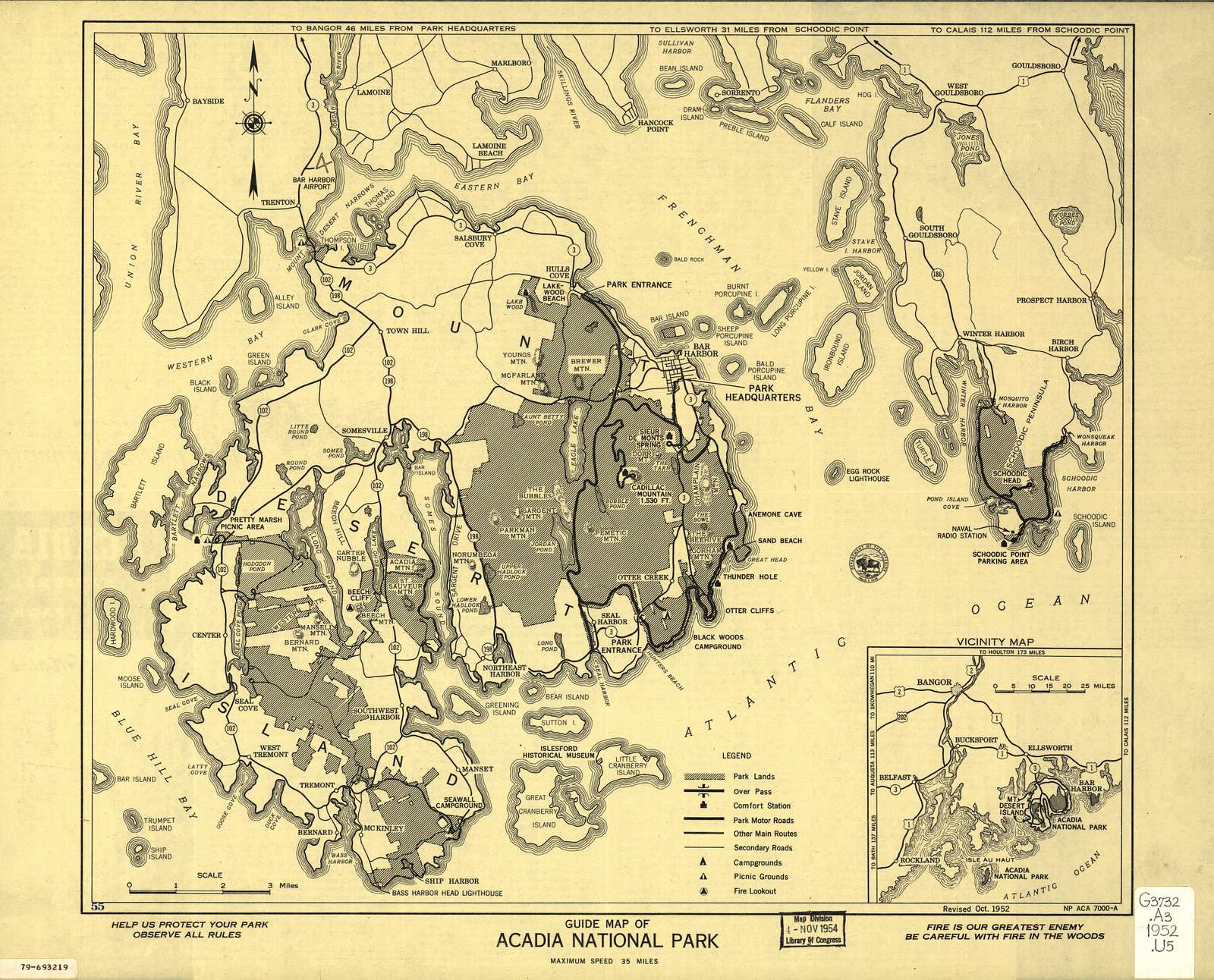 Guide map of Acadia National Park /