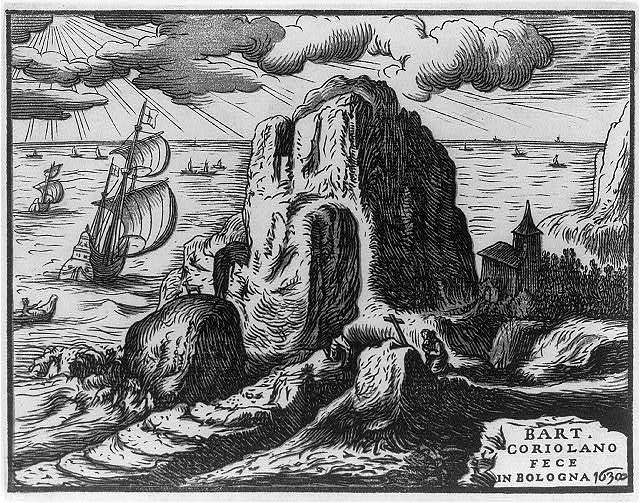 Landscape (with hermit or saint in prayer) / Bart. Coriolano fece in Bologna.