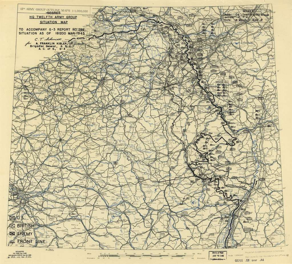 [March 18, 1945], HQ Twelfth Army Group situation map.