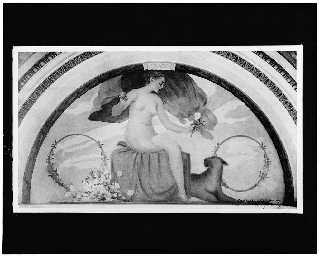 [Mural, Erato, nude woman seated, with large cat, a cougar(?), at her side, in the Library of Congress]