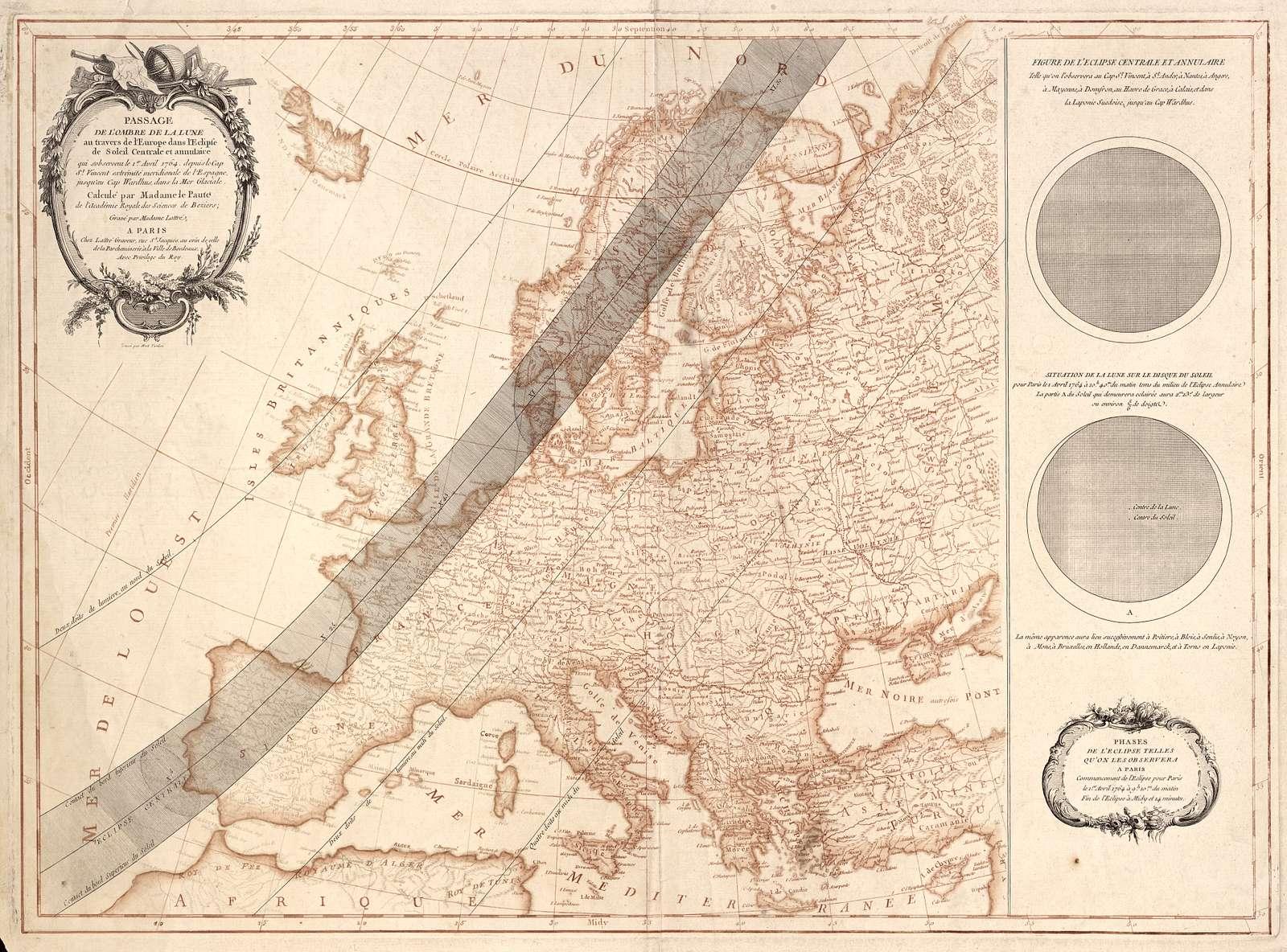 Passage de l'ombre de la Lune au travers de l'Europe dans l'éclipse de Soleil centrale et annulaire : qui s'observent le 1er avril 1764, depuis le Cap St. Vincent extrémité meridionale de l'Espagne, jusqu'au Cap Wardhus, dans la Mer Glaciale /