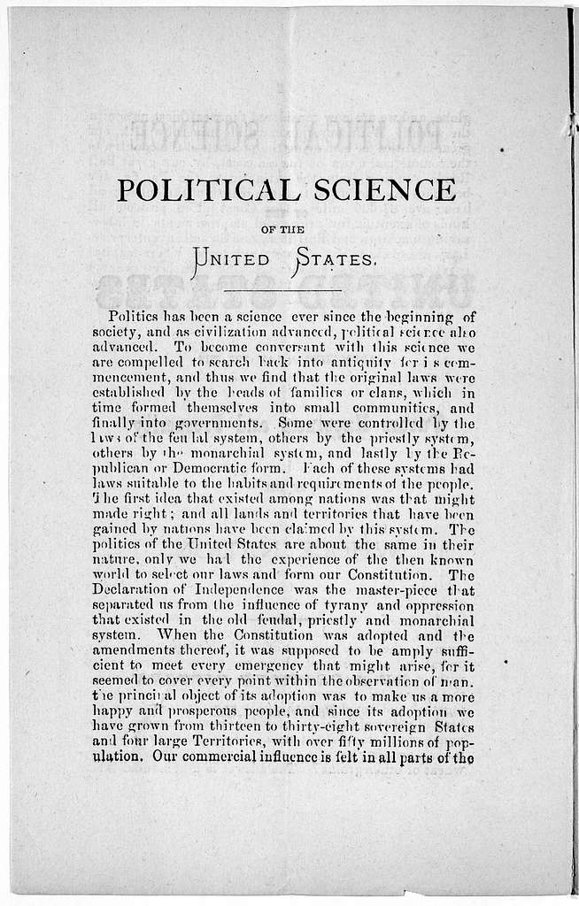 Political science of the United States advocating a law for the future happiness and prosperity of the whole nation. By a private citizen of Baltimore. Md [Signed at end] Duncan McPherson. [blank] [1886?].