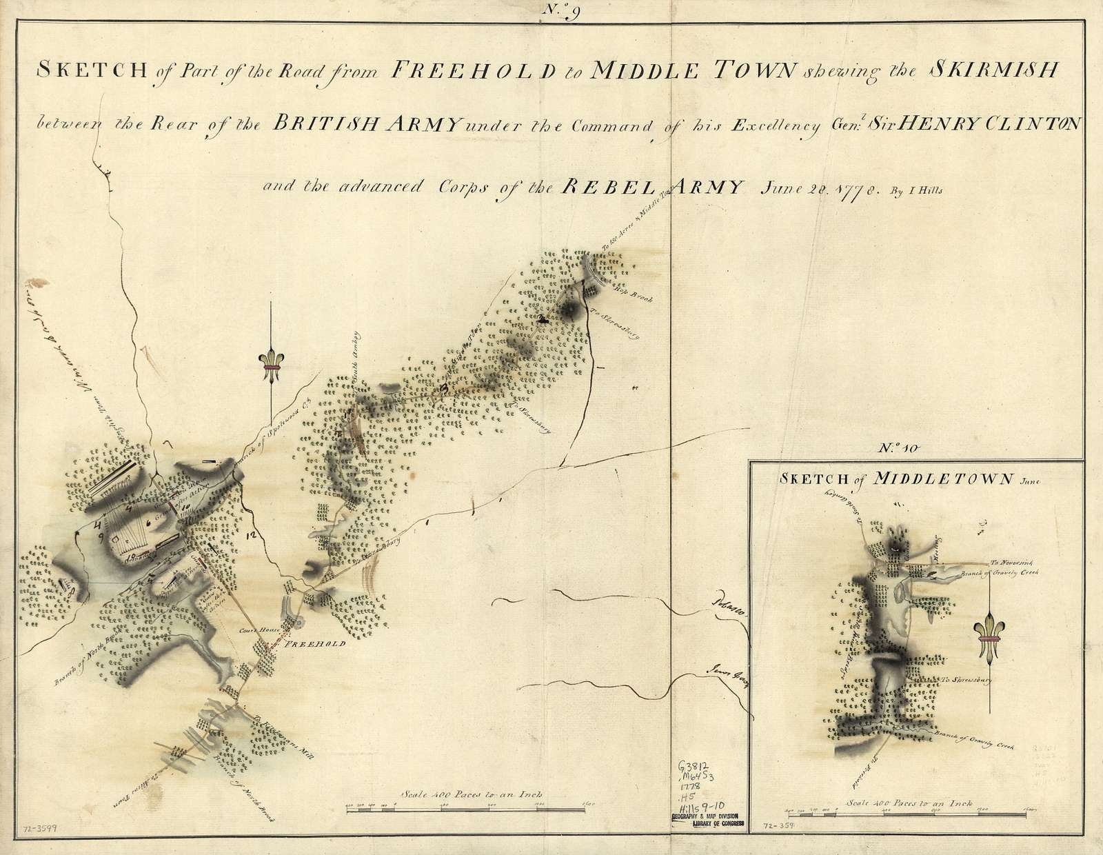 Sketch of part of the road from Freehold to Middle Town shewing the skirmish between the rear of the British Army under the command of His Excellency Genl: Sir Henry Clinton and the advance corps of the rebel army, June 28, 1778,