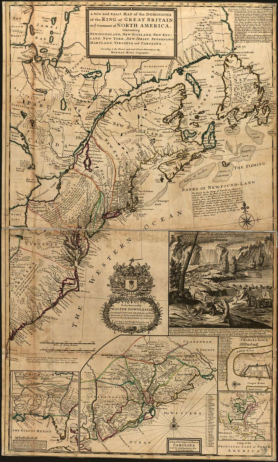 A new and exact map of the dominions of the King of Great Britain on ye continent of North America, containing Newfoundland, New Scotland, New England, New York, New Jersey, Pensilvania, Maryland, Virginia and Carolina.
