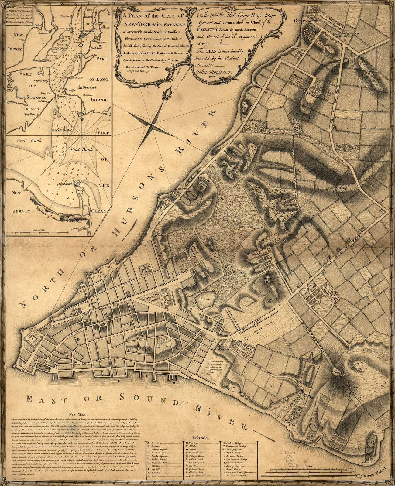 A plan of the city of New-York & its environs to Greenwich, on the north or Hudsons River, and to Crown Point, on the east or Sound River, shewing the several streets, publick buildings, docks, fort & battery, with the true form & course of the commanding grounds, with and without the town.