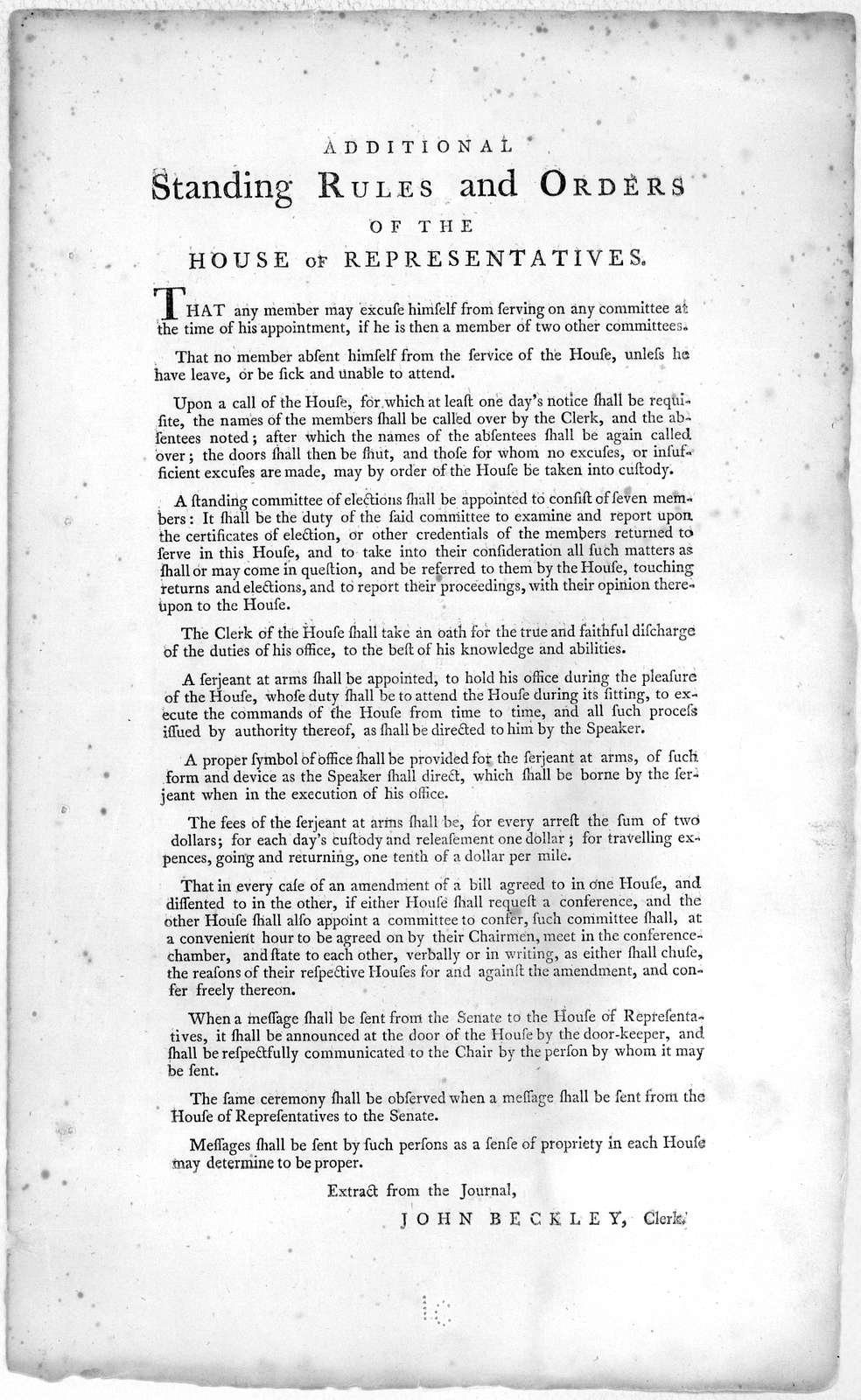 Additional standing rules and orders of the House of representatives. [New York: Francis Childs and John Swaine, 1789].