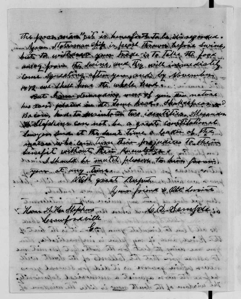 Alexander Hamilton Stephens Papers: General Correspondence, 1784-1886; 1871, Aug. 8-Sept. 16