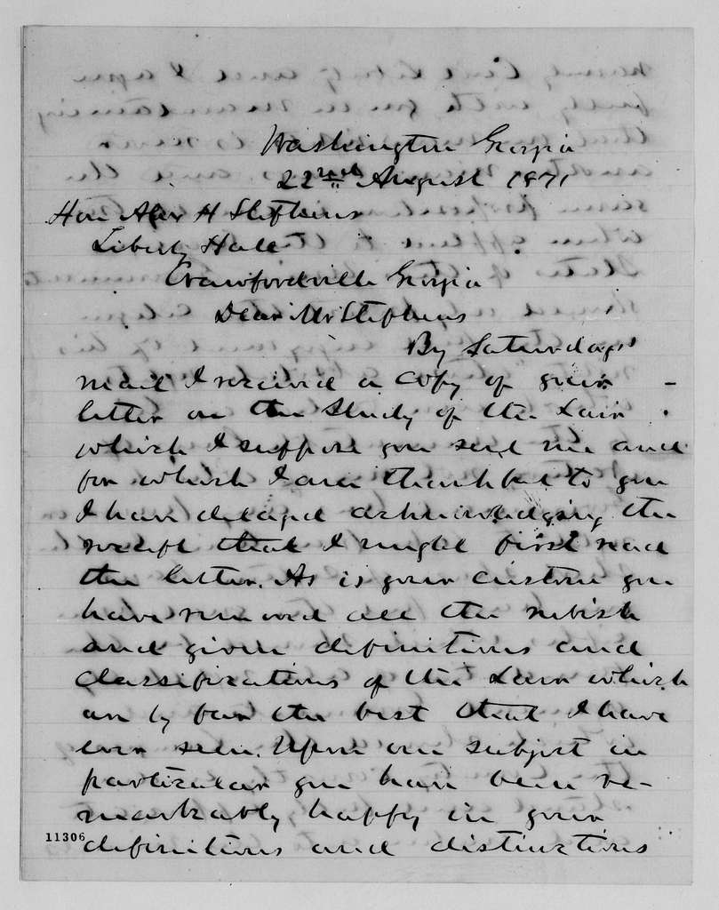 Alexander Hamilton Stephens Papers: General Correspondence, 1784-1886; 1871, Aug. 8-Sept. 16