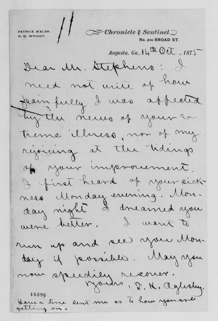 Alexander Hamilton Stephens Papers: General Correspondence, 1784-1886; 1875, Sept. 16-Nov. 10