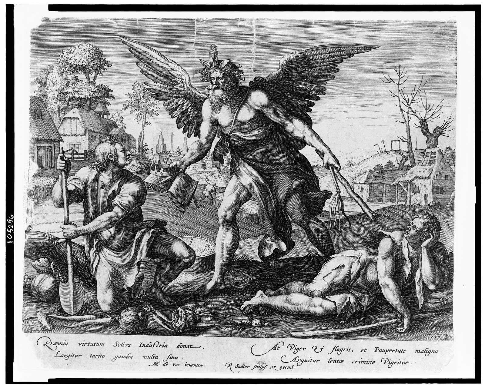 [Allegorical representation of Time rewarding Industry and punishing Indolence] / M. de vos, inventor ; R. Sadler [sic] scalps. et excud.