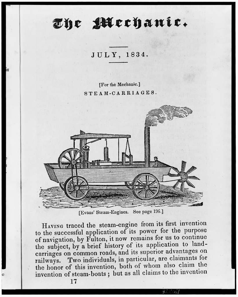 [Amphibious steam powered carriage and paddle boat designed by Oliver Evans]