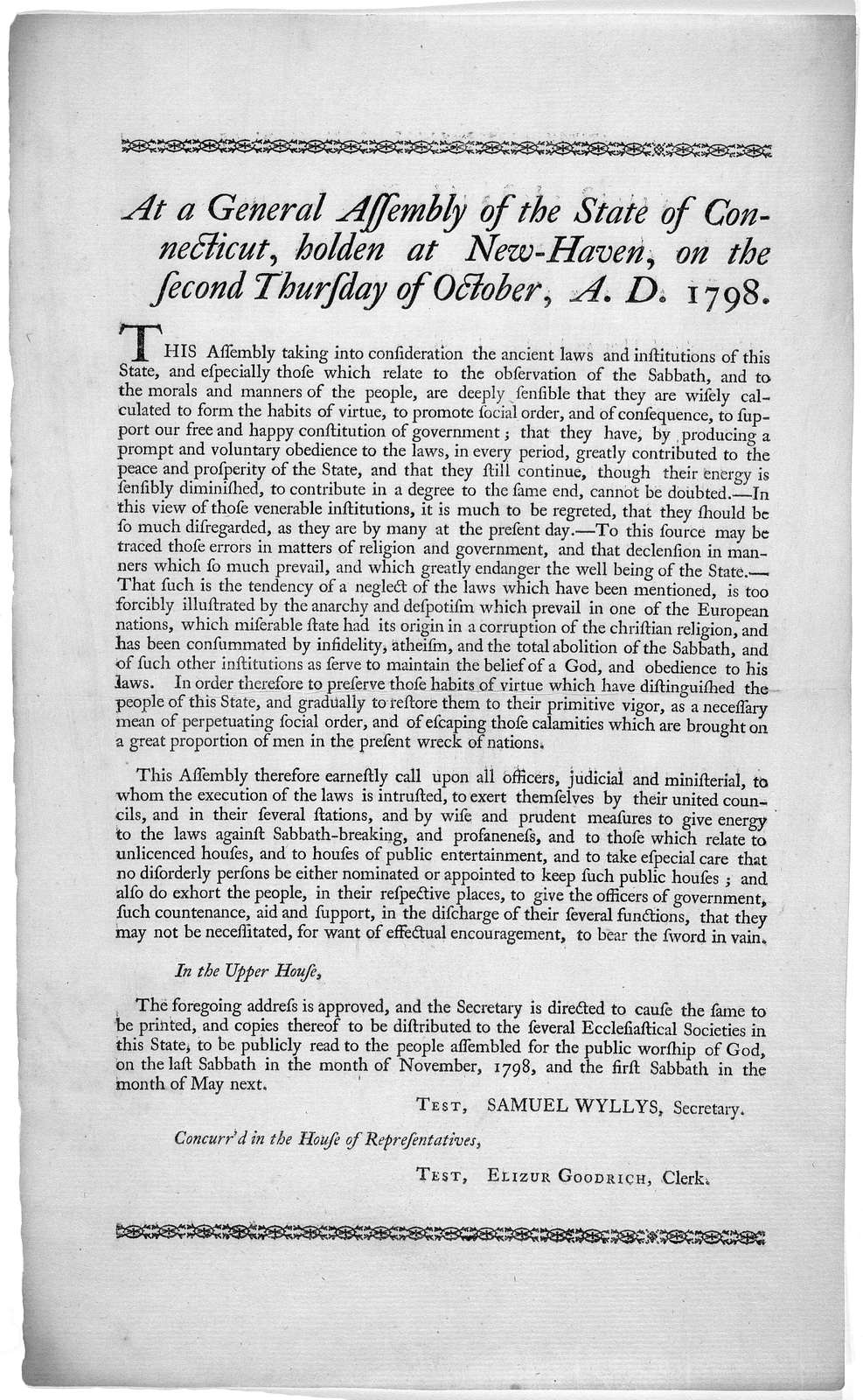 At a General Assembly of the State of Connecticut, holden at New-Haven, on the second Thursday of October A. D. 1798 [Regarding breaking of Sabbath]. [Hartford, Printed by Hudson and Goodwin 1798].