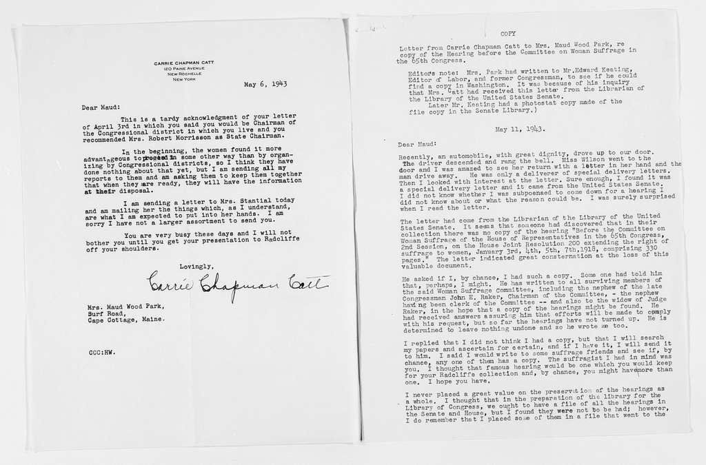Carrie Chapman Catt Papers: General Correspondence, circa 1890-1947; Park, Maud Wood; 1943-1946