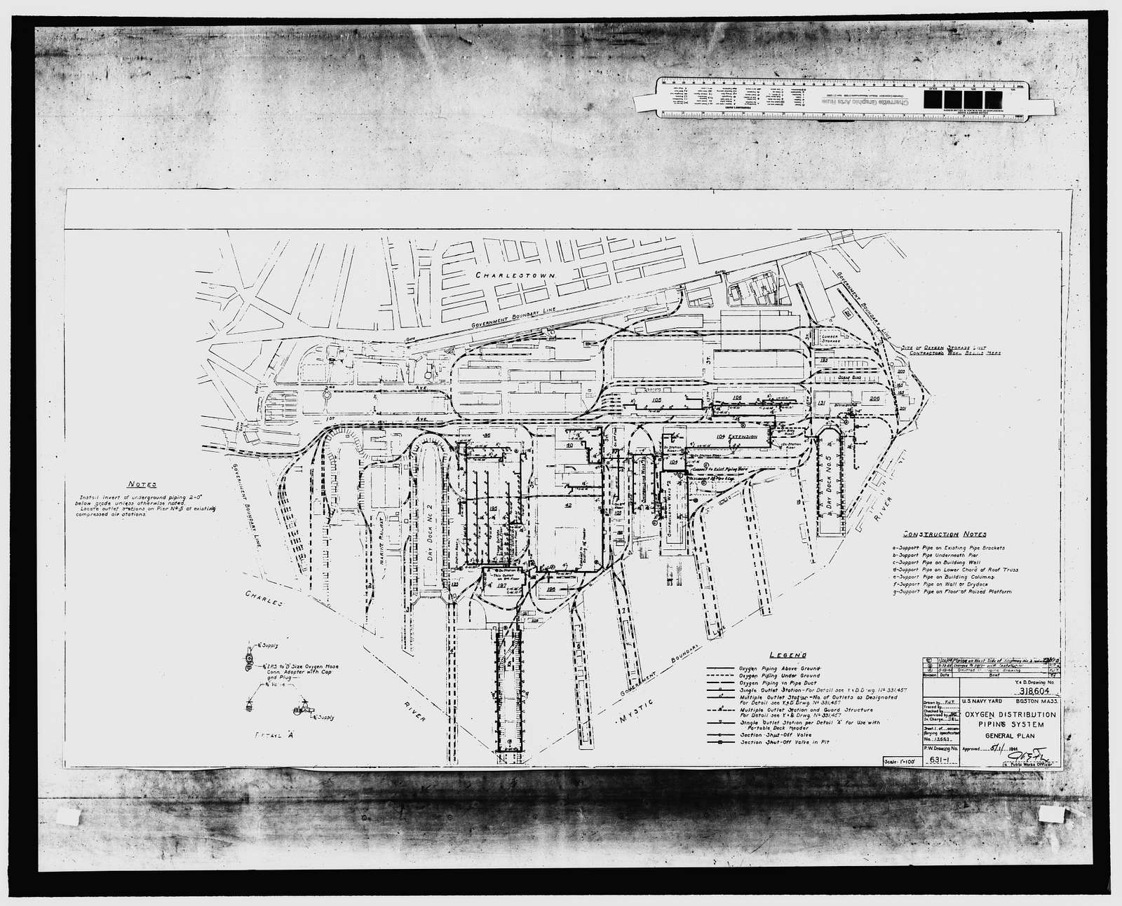 Charlestown Navy Yard, Oxygen Plant, Midway along northern boundary of Charlestown Navy Yard, on Little Mystic Channel, near junction of Eighteenth Street & Fourth Avenue, Boston, Suffolk County, MA