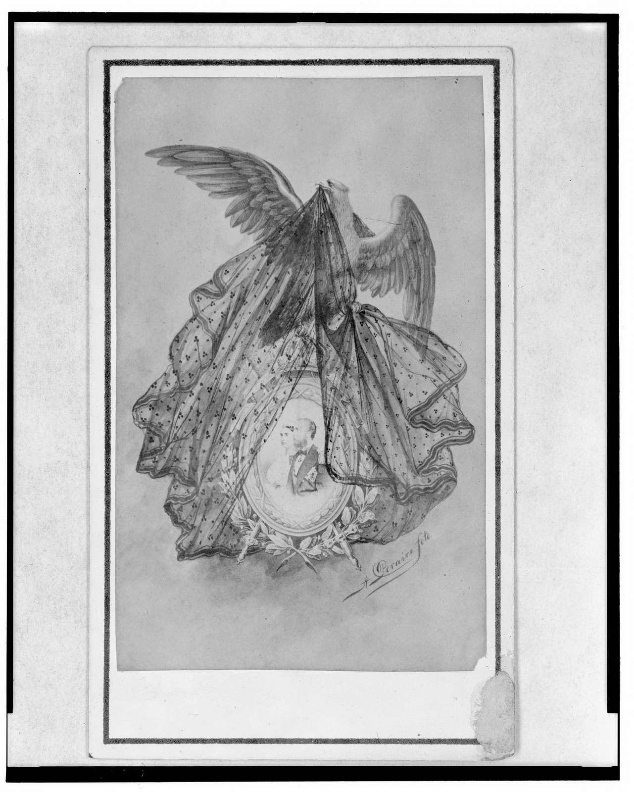 [Eagle lifting veil from cameo of Empress Carlota and Emperor Maximilian]
