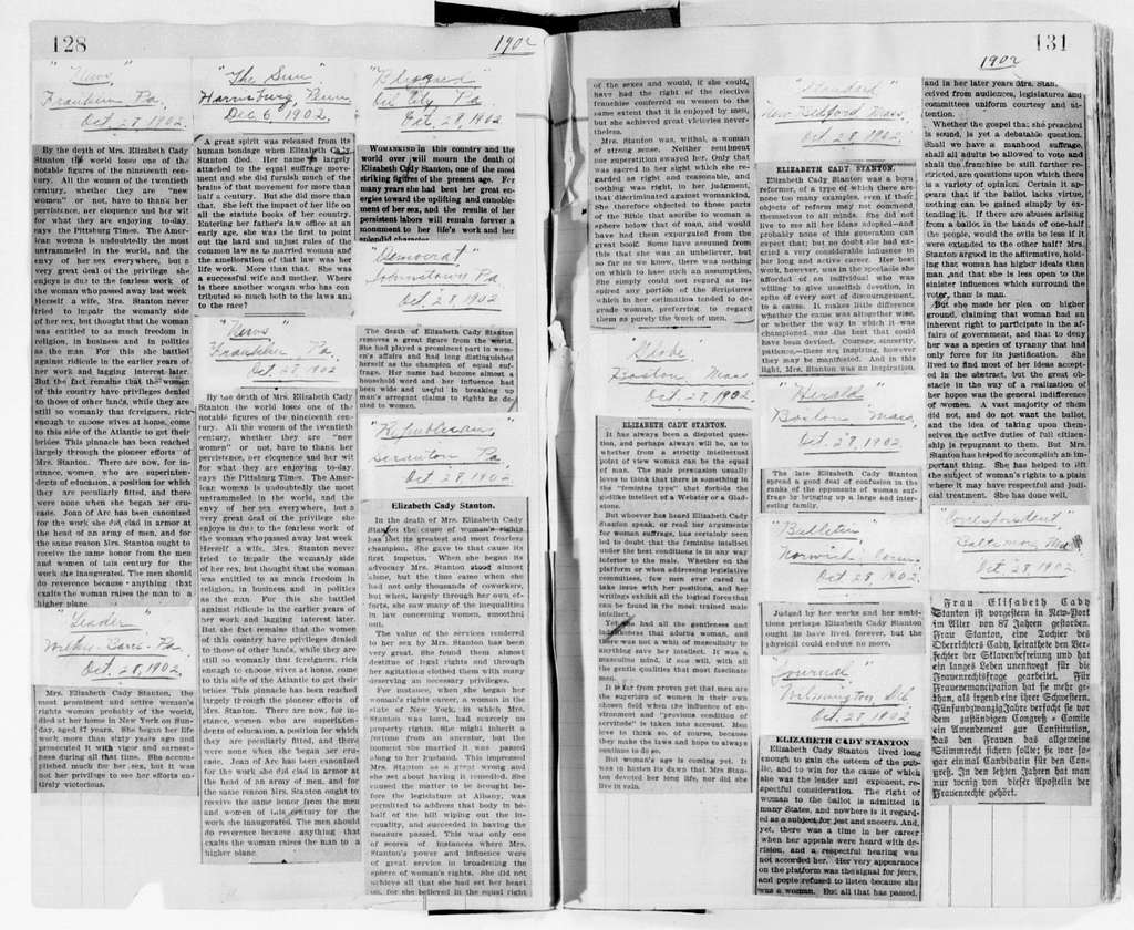 Elizabeth Cady Stanton Papers: Miscellany, 1840-1946; Scrapbooks; #3, prepared by Susan B. Anthony