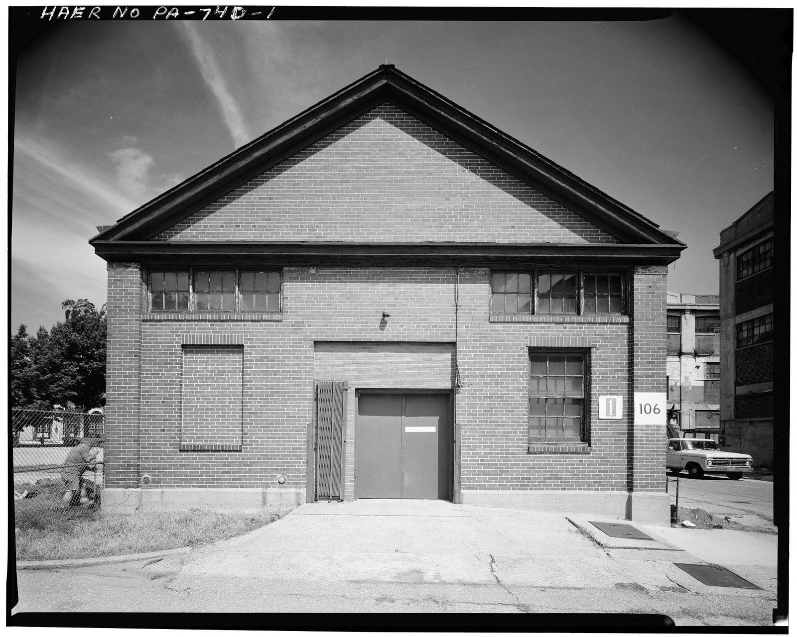 Frankford Arsenal, Building No. 106, South of Tacony Street between Bridge Street & tracks of former Pennsylvania Railroad, Philadelphia, Philadelphia County, PA