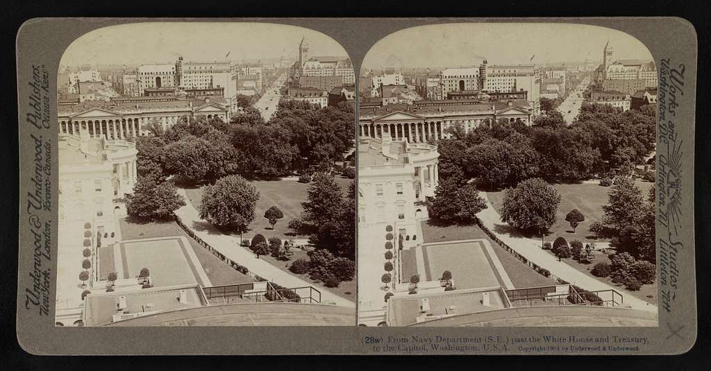 From Navy Department (S.E.) past the White House and Treasury, to the Capitol, Washington, U.S.A.