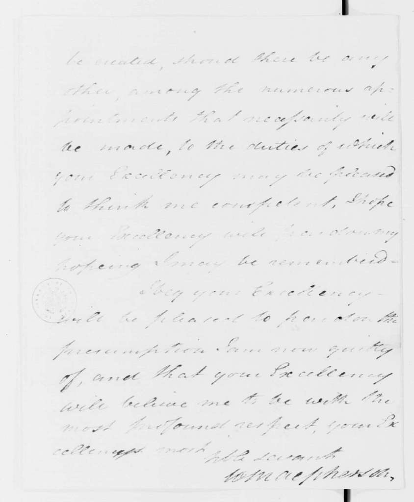 George Washington Papers, Series 7, Applications for Office, 1789-1796: William MacPherson