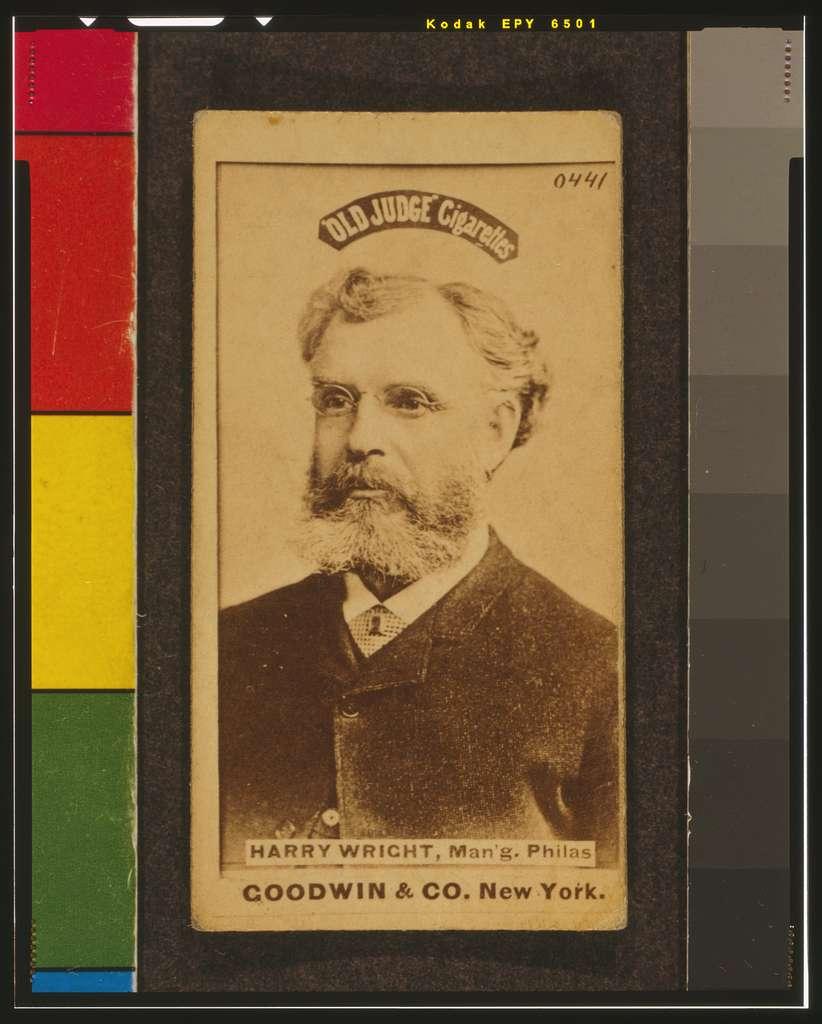 [Harry Wright, Philadelphia Quakers, baseball card portrait]