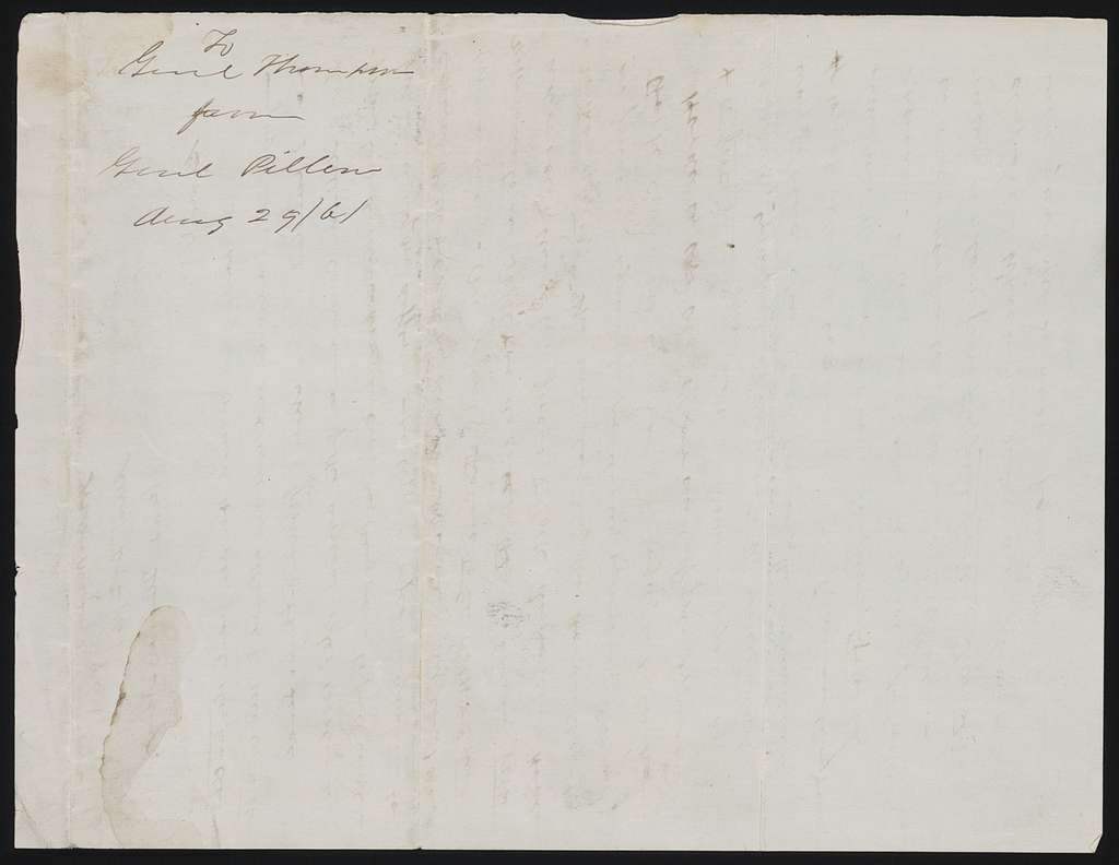 Letter to General Thompson from Gideon J. Pillow, August 29, 1861.