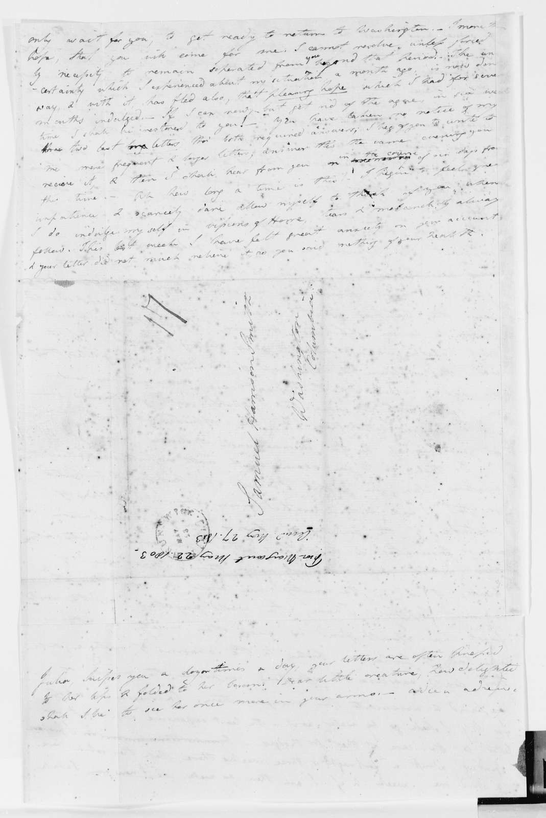 Margaret Bayard Smith Papers: Family Correspondence, 1789-1842; Smith, Samuel Harrison (husband); 1802-1803, May