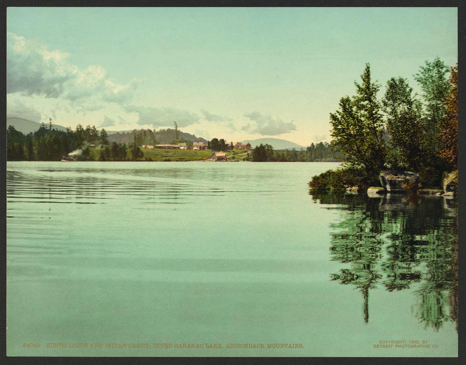 Rustic Lodge and Indian carry, Upper Saranac Lake, Adirondack Mountains
