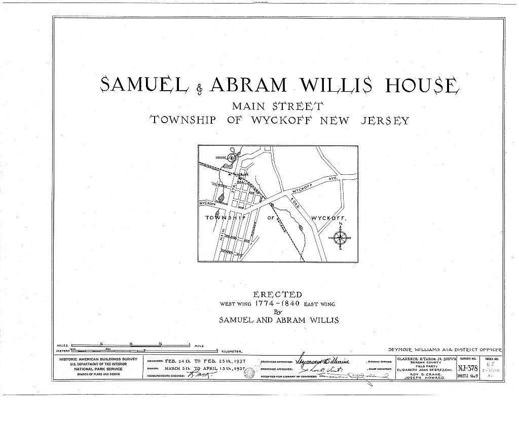Samuel & Abram Willis House, Main Street, Wyckoff, Bergen County, NJ