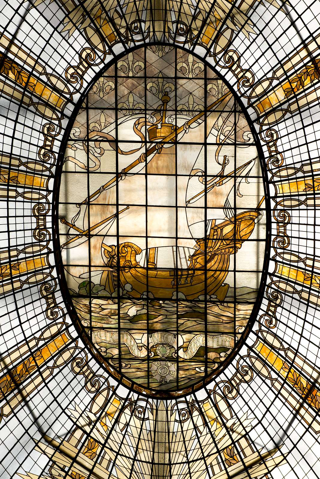 Stained glass in Neiman Marcus store, San Francisco, California