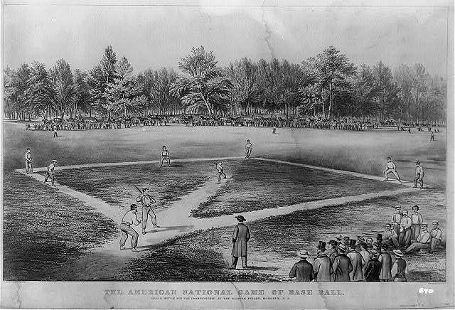 The American national game of base ball. Grand match for the championship at the Elysian Fields, Hoboken, N.J. / lith. of Currier & Ives.