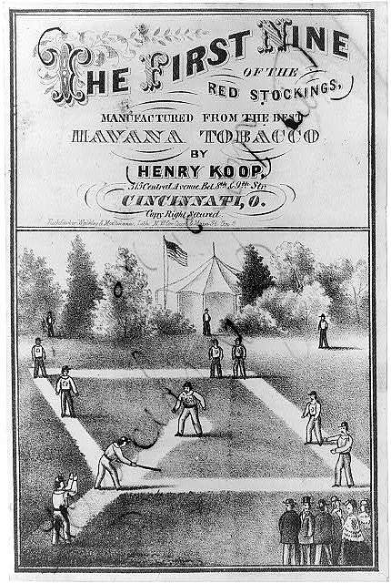 The first nine of the Red Stockings, manufactured from the best Havana tobacco by Henry Koop, 315 Central Avenue bet. 8th and 9th Str. Cincinnati, O. / Tuchfarber, Walkley, and Moellmann, Lith., NW cor. Court & Main St., Cin. O.