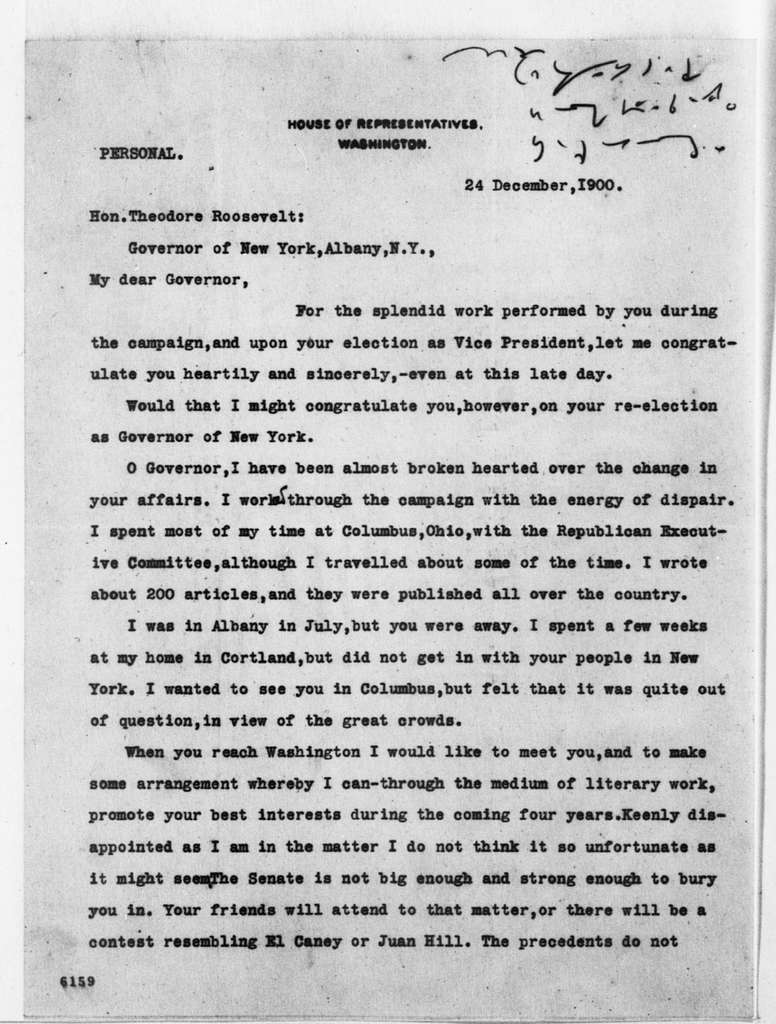 Theodore Roosevelt Papers: Series 1: Letters and Related Material, 1759-1919; 1900, Dec. 24-1901, Feb. 14